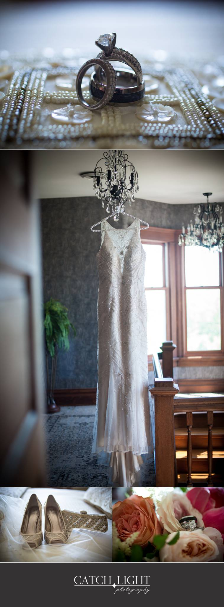 photos of rings, dress hanging from chandileer, shoes, and flowers