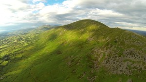 An aerial shot of the Blackstairs Mountains