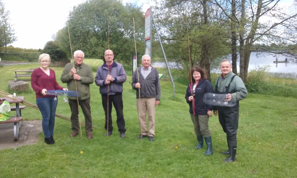 Litter decomposition monitoring apparatus complete with tea bags. Photo includes Enda Fields to the right.