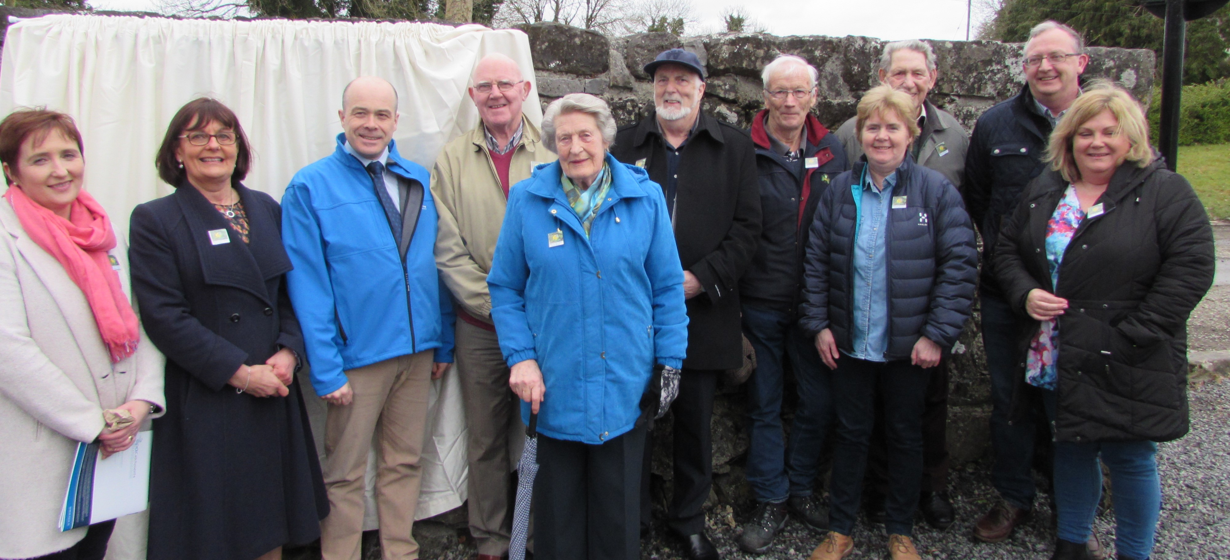 Kilteevan Tidy Towns Committee with Minister Naughton: Marguerite Croghan, Eileen Fahey, Denis Naughton, Minister for Communications Climate Acton and Environment, Joe Fox, Gertie Murphy Ray Clabby, Barney Donlon, Lena Coyle, Mattie Murphy, Hugh Brennan, Fiona Coen.