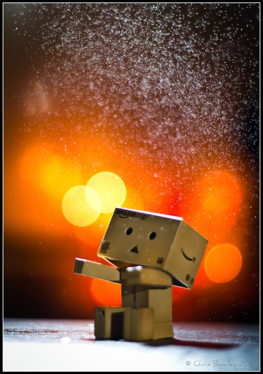 Danbo underneath an exploding bubble!