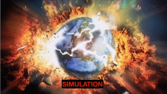 simulation of the world exploding