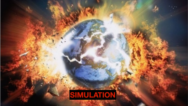 simulation of the world exploding