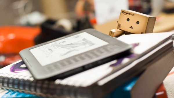 Danbo reaches for Kindle