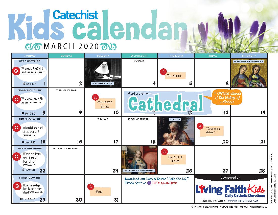 Catholic Liturgical Calendar For Kids