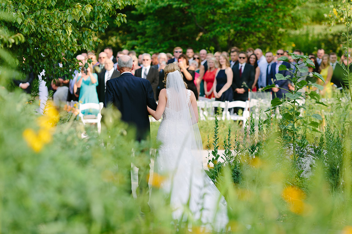 Outdoor wedding ceremony in the Native Garden