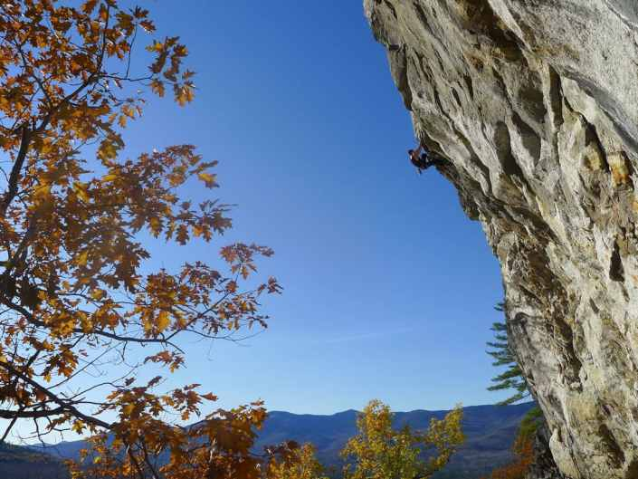 Pat Bagley sending the Sarlac, 5.12b, Shell Pond, Maine.