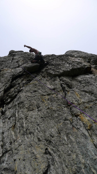 Psyched for a jug rest on a surprisingly steep introduction to Gogarth climbing on the accessible Holyhead Mountain. This was an accidental link-up. What was meant to be a warm-up, left me pumped silly.