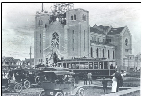 Holy Rosary Cathedral, 1913. Photo courtesy of Saskatchewan Archives Board.