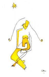 mujer amarilla y estrella