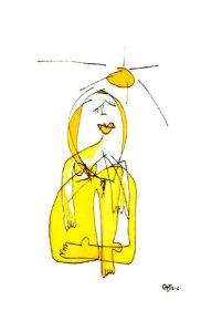 mujer amarilla y sol