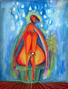 mujer en maceta