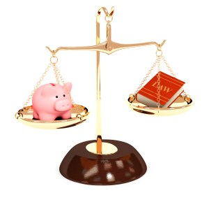 Scales of justice piggy bank