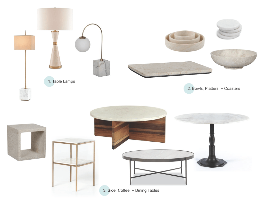 Marble can be used in all kinda of home decor: lamps, platters, tables, etc.