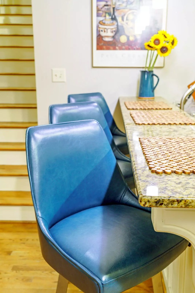 Blue Leather Breakfast Stools