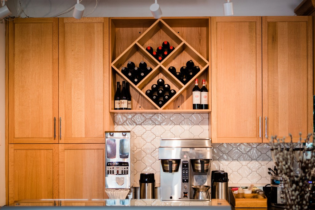 Custom Cabinets, Wine Rack and New Tile in La Vita Dolce Cafe - Cat French Design