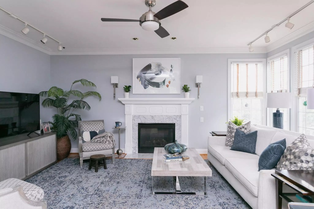 Modern blue rug in traditional home - Catherine French Design