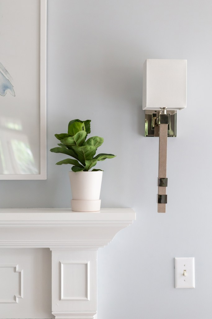 Modern Traditional sconce in Chapel Hill Living Room - Catherine French Design