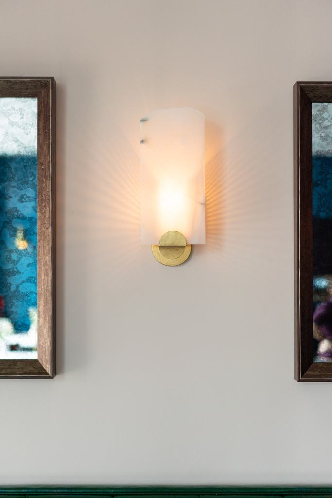 Gold and alabaster opaque wall sconce - Cat French Interior Design - Chapel Hill