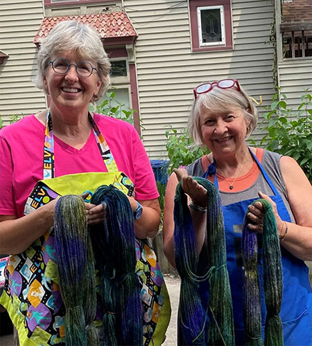 Catherine and Pam with the finished yarn