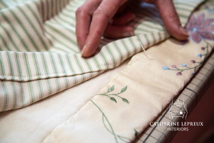 Bespoke curtains with a hand sewn herringbone stitched hem