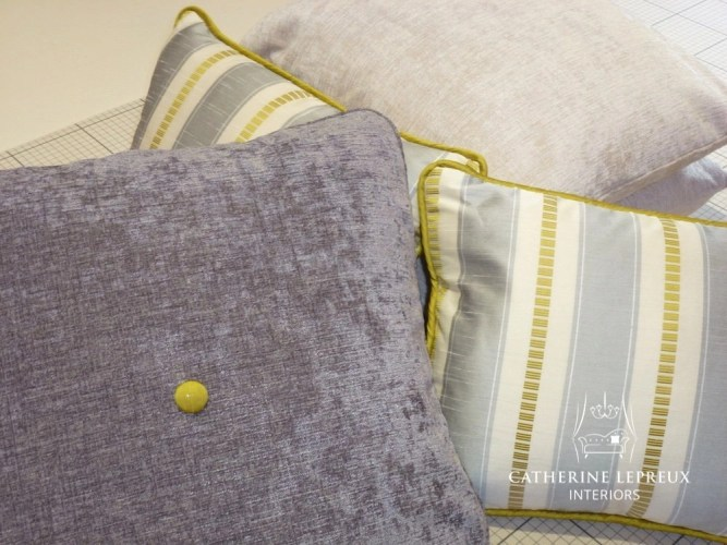 Made to measure grey and yellow scatter cushions