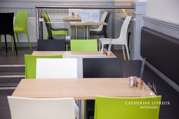 Contemporary colour scheme for café after refurbishment in Edinburgh area.