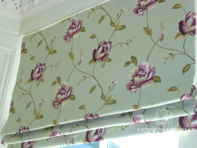 Mock roman blind in duck egg embroidered linen in a traditional Perth living room
