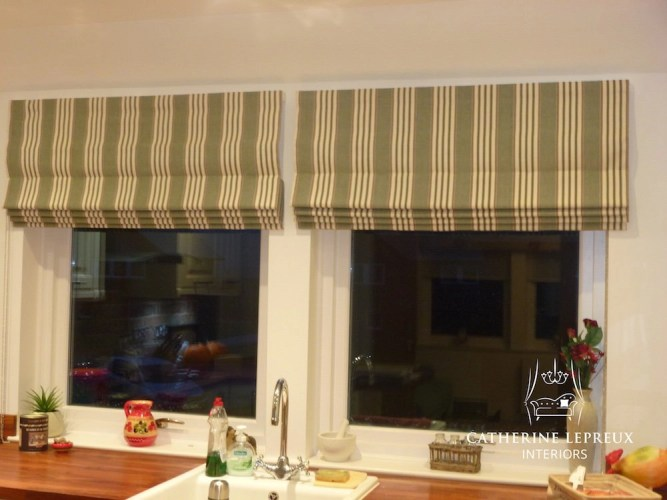 Green striped roman blinds in a Perth kitchen. Fabric from Malabar
