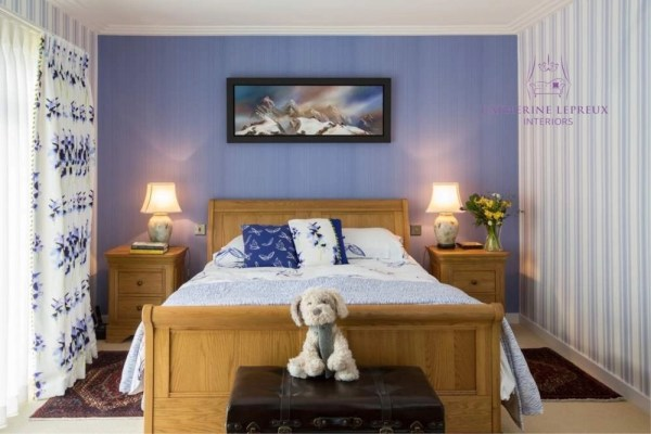 interior design-calm contemporary Edinburgh bedroom with a blue and white decor