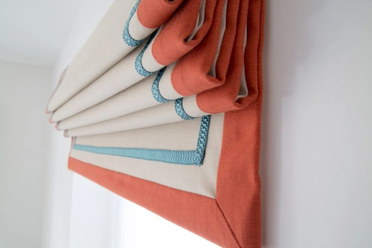 Handmade roman blind orange teal cream Clarke & Clarke Nantucket