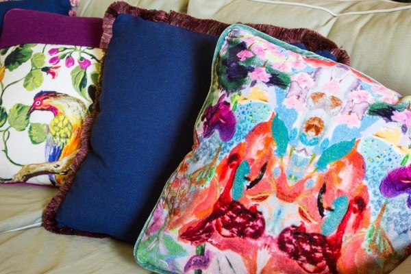 soft furnishings-one-off handmade cushions in a Fife sitting room. Photo credit Caroline Trotter Photography