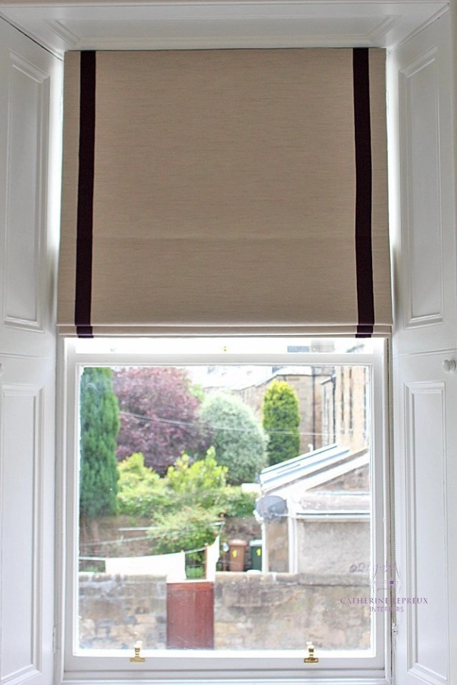 Handmade roman blinds Edinburgh sash window