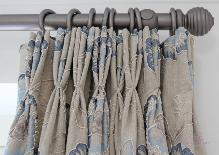 curtain maker grey painted wooden pole neutral blue curtains Edinburgh