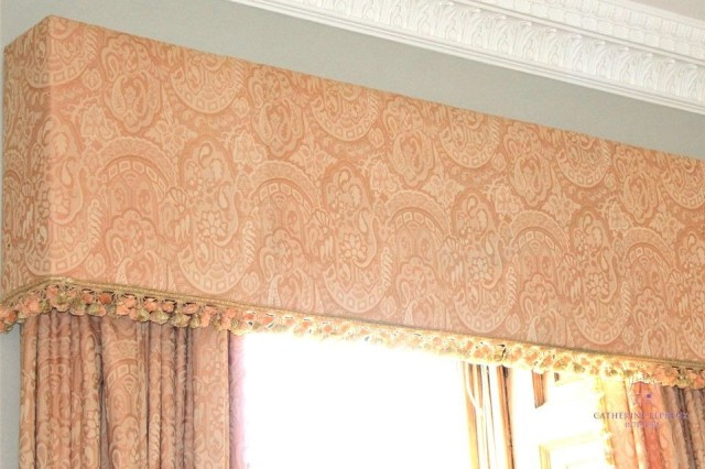 remodelled vintage damask upholstered box pelmet Fife