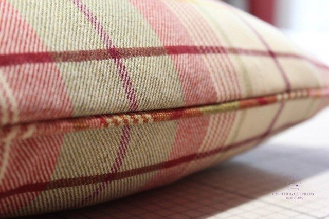 soft furnishings hand made piped cushion Anta red green wool
