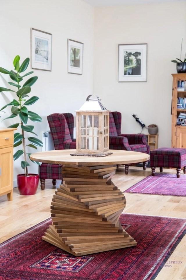 Edinburgh interior design bespoke round wooden table