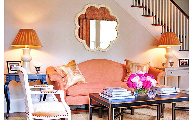 Catherine M Austin Interior Design Pink House Living Room
