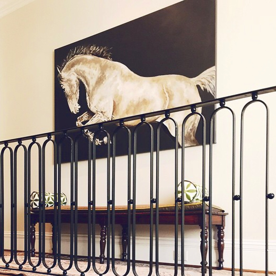 A Landing By Liz Williams Interiors Showcases This Majestic Painting Atlanta Artist Carrie Penley The Dark Background Of Connects Eye