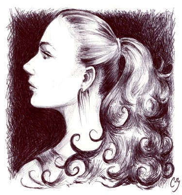 """Illustration in ballpoint pen. I call this one, """"Self-Portrait with Fabulous Hair."""" Neither me nor my hair is actually that fabulous but, you know, artistic license. For a triple meme I did with my siblings."""