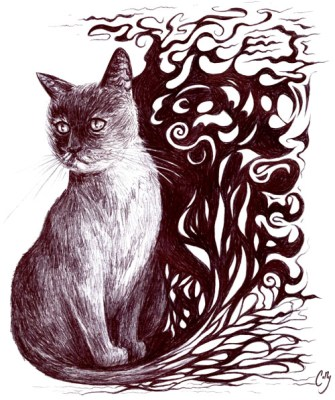 Illustration in ballpoint pen. Fantastical portrait of the family cat, Gata. For a triple meme I did with my siblings.