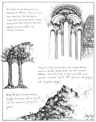 Illustration in ink.