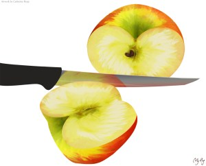 Illustration of a cut apple. Photoshop.