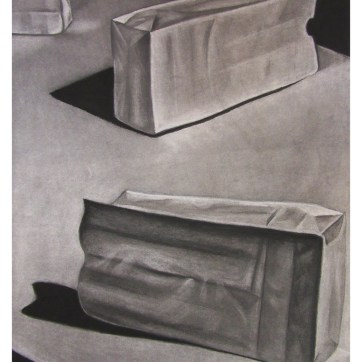 Drawing I class project - paper bag still life in charcoal.