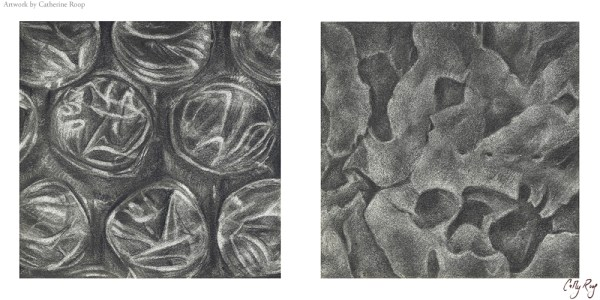Drawing I class project - still life zoom in graphite. Bubble wrap and lava rock.
