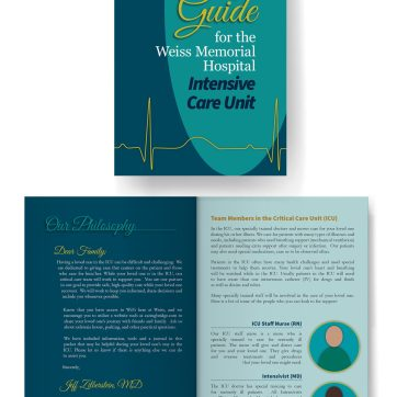 Mockup for a brochure about an ICU. Adobe InDesign.