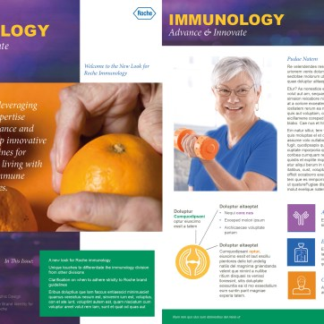 Design for a newsletter for the Roche immunology division. This was a school exercise and was NOT commissioned or approved by Roche. Photoshop and InDesign.