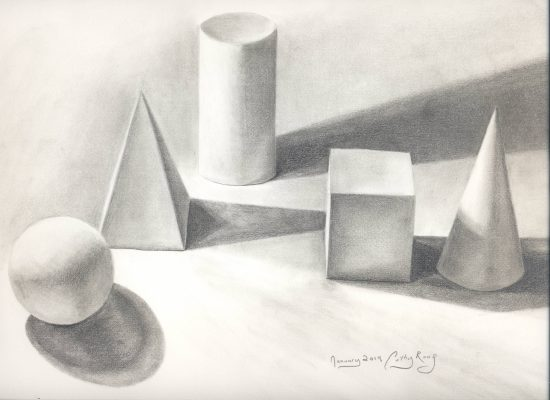 Still life of shapes. Graphite.