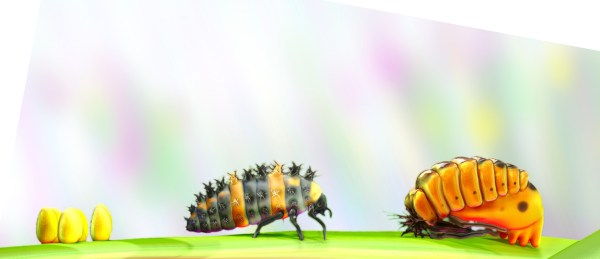 Textless, rotated, and cropped version of a poster about the life cycle of ladybugs.