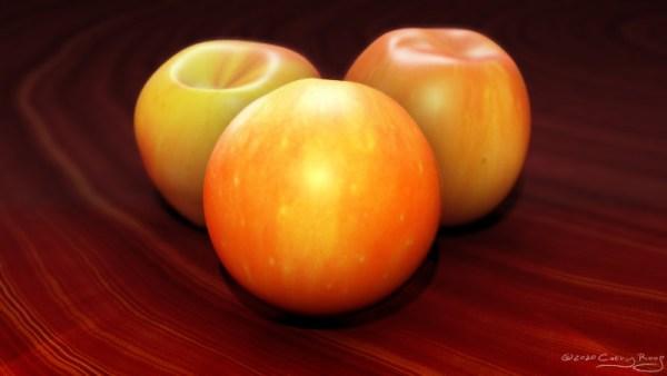 3D rendering of apples